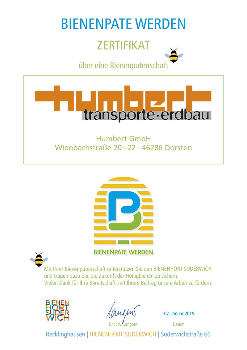 Humbert Transporte Erdbau CSR-Zertifikat Bienenpate Bienenhort Suderwich